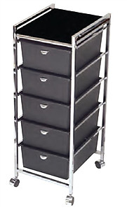 Pibbs D28BL5 Tier Cart with ART69 Topper Black Wood