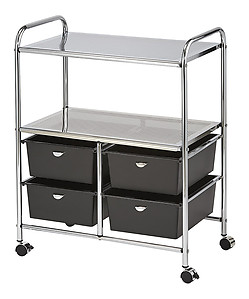 Pibbs D4B Work Cart with 4 Black Storage Drawers Black