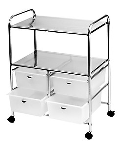 Pibbs D4W Work Cart with 4 White Storage Drawers -White
